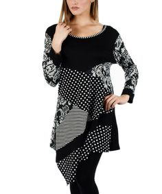 Black & White Patchwork Asymmetrical-Hem Tunic by Aster #zulily #zulilyfinds