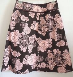 #Forever21 Pink and Chocolate Brown #A-Line #Floral #Skirt #Knee Length #Stretch Women Sz S