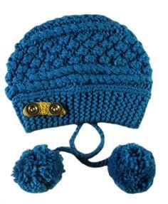 Blue Beanie Attached with Pom Pom Ropes | More stripes, polka dots and pom poms here: http://mylusciouslife.com/colour-textiles-stripes-polka-dots-pom-poms/