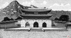 광화문  종이에 먹 펜 - 김영택님의 펜화로 그린 전통건축[2] - 궁궐 성곽
