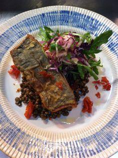 Spanish Mackerel with green lentils