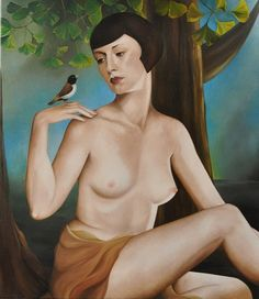 Woman with bird (80 x 70 cm)