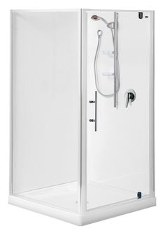 Englefield Valencia Square Corner Shower Square shower, white or chrome frame option, different sizing and waste options, includes low profile tray and liner. http://www.plumbin.co.nz/shop/showers/valencia_square-2.html