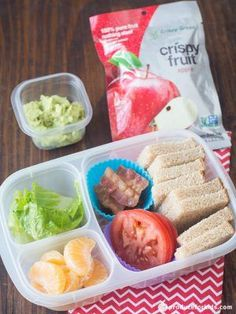 Deconstructed BLT Bento Box - Kids will have fun constructing their very own BLT sandwich at lunchtime. Keeping each item in its own compartment keeps everything fresh until lunchtime and avoids the dreaded soggy sandwich. Instead of mayo, get a dose of good fats by spreading on mashed avocado! #PowerYourLunchbox