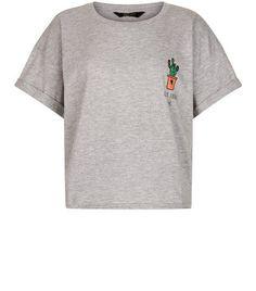 Teens Grey Cactus Roll Sleeve T-Shirt | New Look