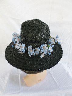 1960's Vintage Black Wide Brim Hat with Blue Flowers Size 22.