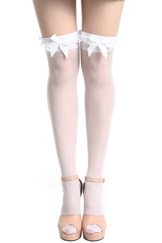 ROMWE | Lace Bowknot White Stockings, The Latest Street Fashion #ROMWEROCOCO