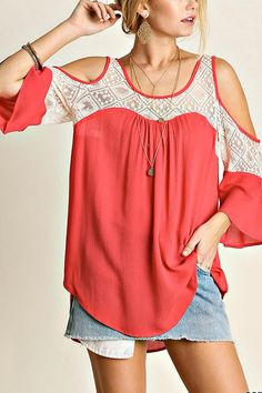 Cold Shoulder Top with Lace Details.  Such a comfortable top to wear anywhere.  Stylish and chic with high/low detail. Cold Shoulder Top by Umgee USA. Clothing - Tops - Casual Colorado