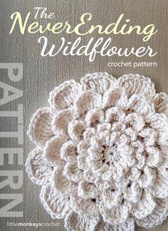 Au crochet, modèle de crochet fleur Flower Pattern PDF (The Neverending Wildflower Crochet Pattern de petits singes au Crochet) sur Etsy