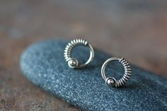 Small Silver Circle Earrings  unique small by CookOnStrike on Etsy, $25.00