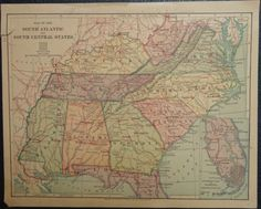 Antique-Original-Color-Map-of-the-Southern-Confederate-States-of-America-Vintage
