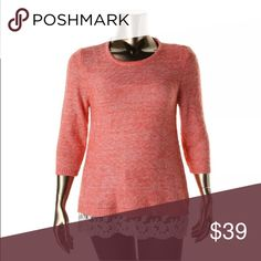 Listing! PLUS Orange Lace Trim Sweater! NEW! Adorable plus size sweater! Style & Co Sweaters Crew & Scoop Necks