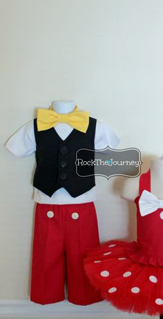 Little Guy Mouse Tuxedo Vest Pants and Bow TIe Outfit for Disney Mickey Mouse themed birthday party - Baby - Halloween Costume, 6mos-3T