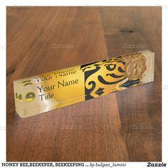 HONEY BEE,BEEKEPER, BEEKEEPING Brown Wax Seal Desk Name Plates  Design by Bulgan Lumini (c)