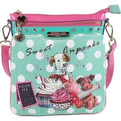 Nicole Lee Cupcake Dog Print Cross Body (€31) ❤ liked on Polyvore featuring bags, handbags, shoulder bags, blue, blue crossbody, blue purse, blue shoulder bag, rhinestone purses and shoulder strap bags