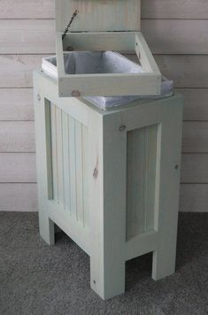 Wood Trash Can, Trash Can Ideas, Trash Can Cabinet, Driftwood Stain, Kitchen Trash Cans, Kitchen Garbage Can Storage, Small Wood Projects, Trash Bins, Recycling Bins