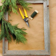 for Square Greenery Wreath start with a frame the size you want your wreath to be. Cool...this is easy then you can hotglue or wire bulbs, pine cones and bows on...or not. Its your project. have fun!