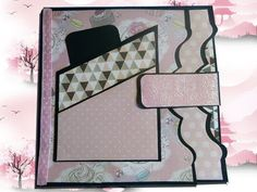 tuto page 3 album noir et rose - - Scrapbooking Diy, Album Photo Scrapbooking, Mini Albums Scrapbook, Baby Scrapbook, Diy Album Photo, Diy Mini Album, Diy Crafts For Girls, Hobbies And Crafts, Book Page Roses