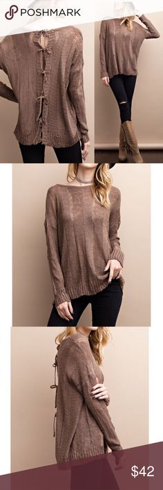 """Mocha lightweight open back knit sweater top Soft lightweight knitted sweater open back top with tie details Color: Mocha Soft and stretchy  Lightweight Semi-sheer Relaxed fit Style it with a lace extender,tank top extenders or a cami top underneath  Material: 100% Acrylic   Measurements:  Small: Armpit to Armpit: 22"""" Bust upto 44"""" Length : 26""""  Medium: Armpit to Armpit: 23"""" Bust upto 46"""" Length : 26.5""""  Large: Armpit to Armpit: 24"""" Bust upto 48"""" Length : 27"""" Pink Peplum Boutique Sweaters"""