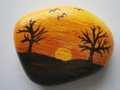 Painted rock Sunset with trees by PlaceForYou on Etsy
