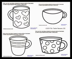 The coffee cup in this free, printable writing template