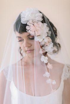 Silk Flower Wedding Veil #706V