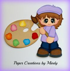 Craftecafe Mindy Art School Painting Girl Premade Paper Piecing for Scrapbook…