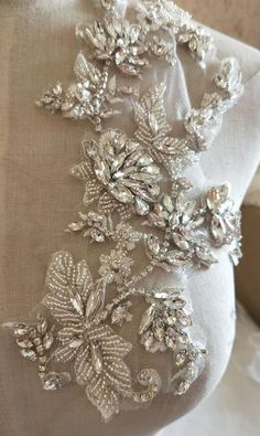 3 Colors Fabulous Full Rhinestone Crystal Applique Pair For Bridal Accessories Wedding Dress Sash Haute Couture Costume Embellishment Crystal Embroidery, Zardozi Embroidery, Tambour Embroidery, Hand Work Embroidery, Couture Embroidery, Embroidery Fashion, Embroidery Dress, Bead Embroidery Tutorial, Bead Embroidery Patterns