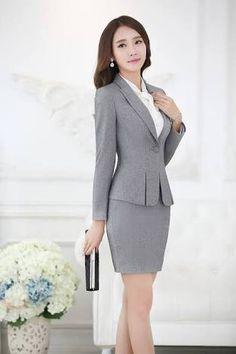 Buy high quality china wholesale computers, cell phones, wedding dresses and other products from reliable chinese wholesalers on Dhgate Power Dressing, Blazers For Women, Suits For Women, Clothes For Women, Work Fashion, Asian Fashion, Work Wear Office, Skirt And Top Set, Beautiful Asian Women