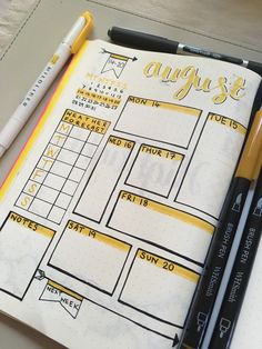 August weekly spread idea: bullet journal