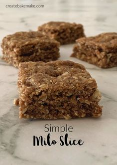 Easy Milo Slice Recipe - a yummy lunchbox snack for the kids. This recipe is also freezer friendly and both regular and Thermomix instructions included. Lunch Box Recipes, Dessert Recipes, Lunch Ideas, Desserts, Milo Recipe, Healthy Slice, Healthy Food, Healthy Baking, Yummy Food