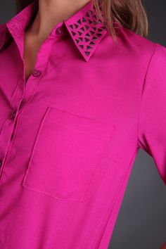 Fuschia Studded Collar Top