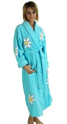 Daisy Appliqued Women's Bathrobe, 100% Cotton Terry Cloth, Long, Turquoise, One Size by daisysoul