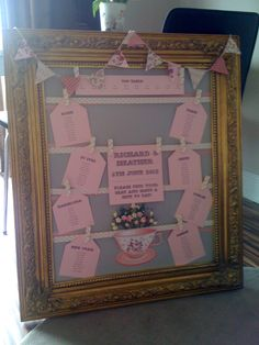 Hand made wedding table plan- definitely doing this :)