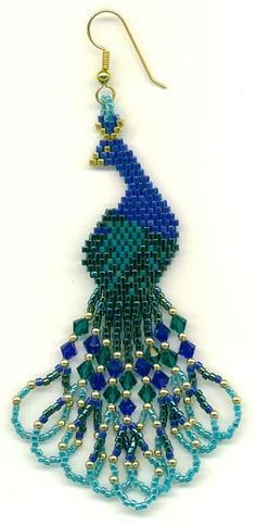 Back to the 70s - peacock earrings. Brick Stitch. Color diagram but no real how-to.  Always start at the widest part then work in both directions. Nice way to do fringe. #seed #bead #tutorial.