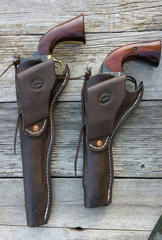 Simple and classic Slim Jim-style wet-molded holsters for large Single Action Revolvers