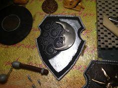 Moon shield pendant Polymer Clay Art, Pendant, Moon, Trailers, The Moon, Pendants