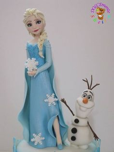 Elsa and Olaf - Cake by Sheila Laura Gallo (Top Model Torte) Torte Frozen, Frozen Doll Cake, Frozen Cake Topper, 4th Birthday Cakes, Frozen Birthday Cake, Frozen Party, Frozen Disney, Elsa Frozen, Fondant Toppers