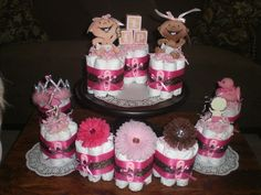 Leopard or Cheetah Mini Diaper Cake Baby Shower Centerpieces other colors and sizes available too. $10.00, via Etsy.
