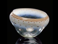 """Pale White Basket with Agate Lip Design, 1979, 7 x 11 x 11"""" 