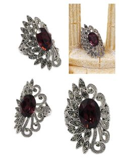 """""""Elegant asymmetry peacoc red crystal ring"""" by oceanfashion on Polyvore"""