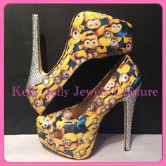 Minion High Heels Size UK 3-8 US 5-10 au 5-10 eu 36-41- Wedding unique minions diamonte diamante crystal by KellyJellyJewelsKJJC on Etsy https://www.etsy.com/listing/232326150/minion-high-heels-size-uk-3-8-us-5-10-au