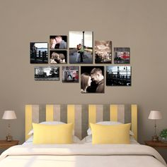 Beautiful collage above headboard