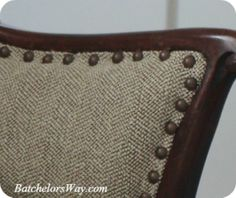 Batchelors Way: DIY Upholstery- Covering the Chairs!! Part 1 - tan and cream tweed fabric from walmart $3.00 yard!
