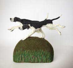 Neddle felted Pointers, dog portrait sculpture.