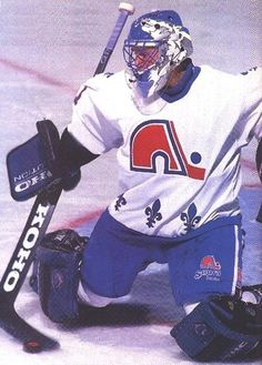 Drafted by the Nordiques 10th overall in 1993, Thibault was only the second 18 year-old to play regularly in the NHL at that time. Description from milehighhockey.com. I searched for this on bing.com/images Hockey Goalie, Hockey Players, Ice Hockey, Quebec Nordiques, Hockey Rules, Olympic Games Sports, Goalie Mask, Florida Panthers, Team Uniforms