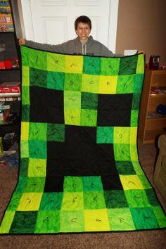 Hook's Happenings: Minecraft Creeper Quilt http://hookshappenings.blogspot.com.au/2014/02/minecraft-creeper-quilt.html