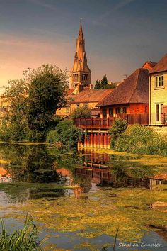 Church view across the River Welland in Stamford, Lincolnshire, England.