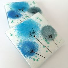 Blue flower fused glass coasters fired creations.co.uk