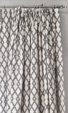 Beautiful Grey And White Trellis Fabric Make Lovely Curtains By Tonic Living Home